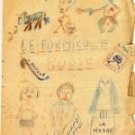 """Copertina del dattiloscritto """"Formicole rosse"""" disegnata da Rea"""